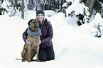 woman with Rhodesian Ridgeback