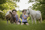 girls and Mini Shetland Ponies